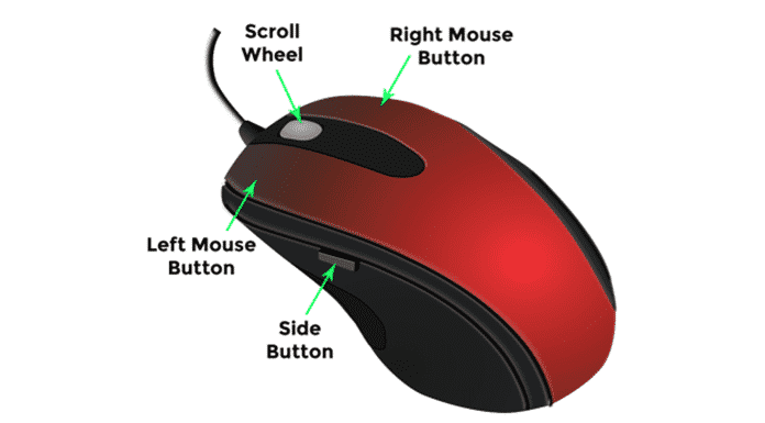 computer mouse ke bhag